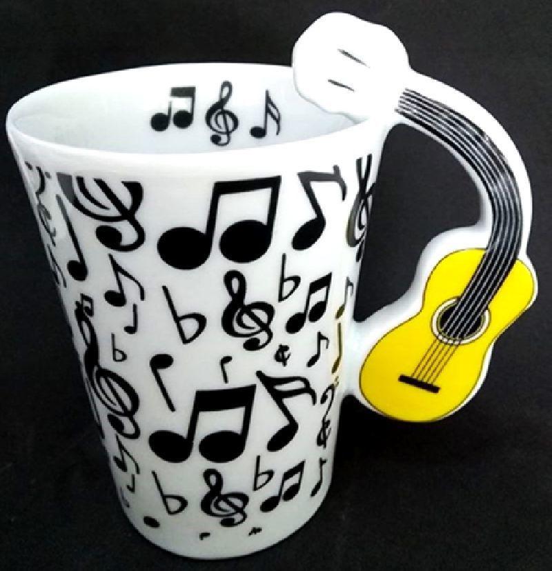 Caneca Musical Tulipa Branca Com Símbolos Preto e Alça Violão