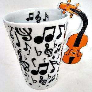Caneca Musical Tulipa Branca Com Símbolos Preto - EM1425