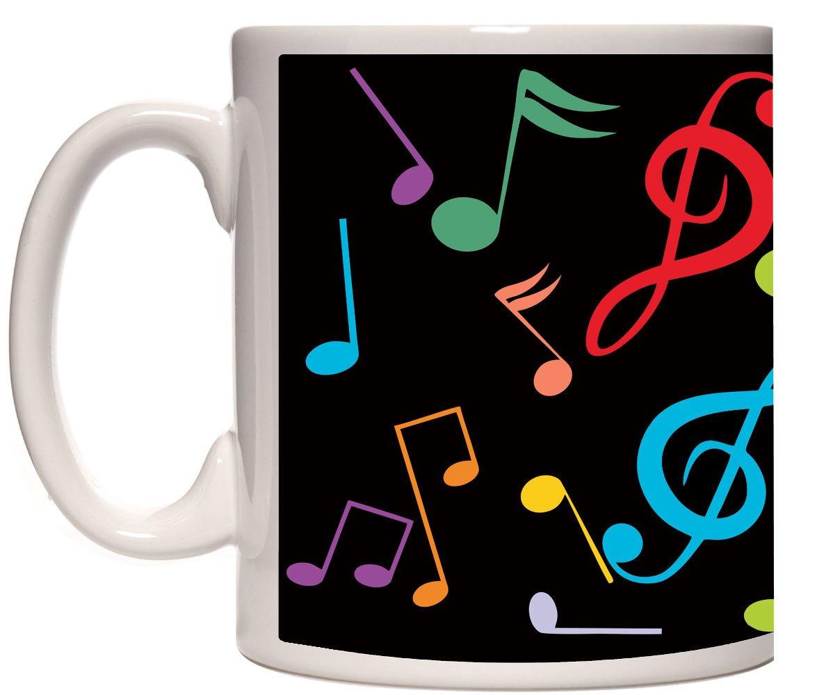 Caneca porcelana notas musicais coloridas