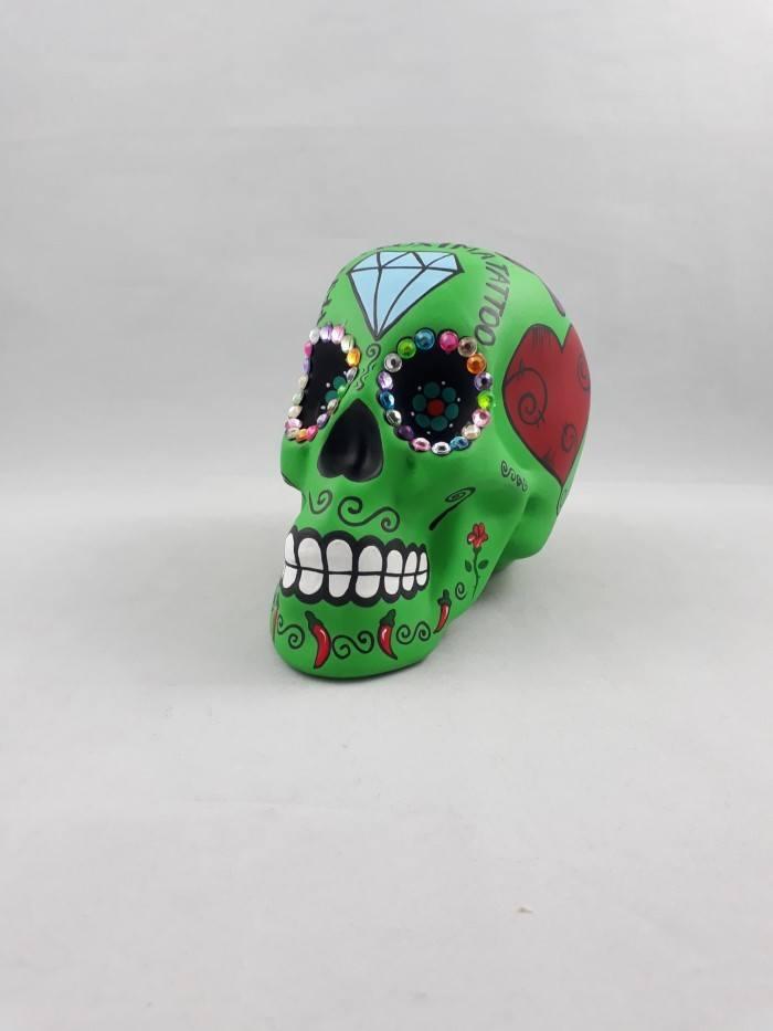 Cofre caveira mexicana em cerâmica