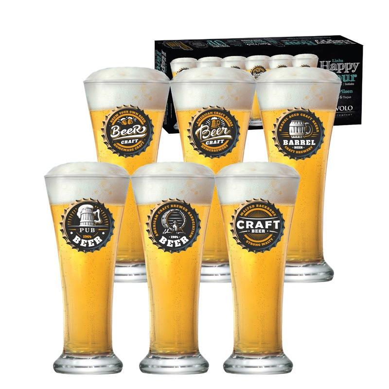 Copo de cerveja Pilsen Happy Hour - 06 peças