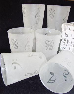 Copo Musical Para Água Vidro Jateado Com Símbolos - EM130