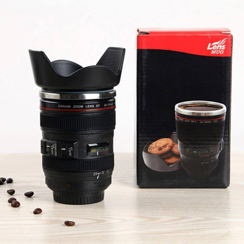Copo Térmico Câmera Lente Fotográfica Aço Inoxidável 350ml