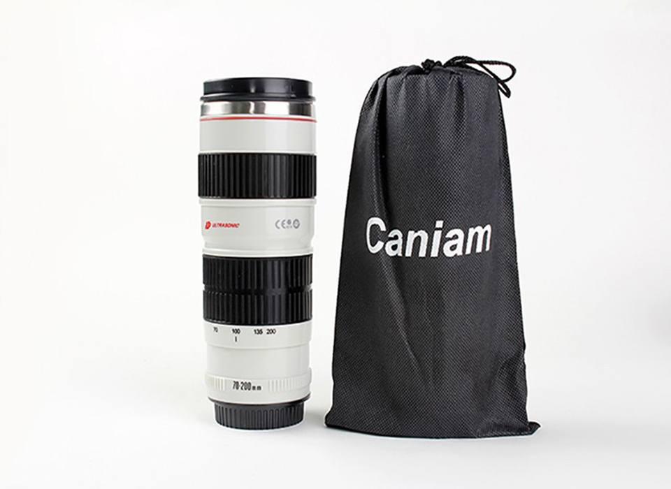 Copo Térmico Câmera Lente Fotográfica Aço Inoxidável 400ml