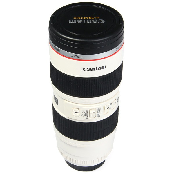 Copo Térmico Câmera Lente Fotográfica Aço Inoxidável 500ml