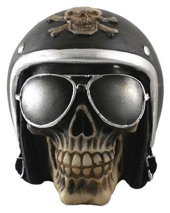 Crânio Caveira Motoqueiro Capacete Preto Óculos Decorativo Resina