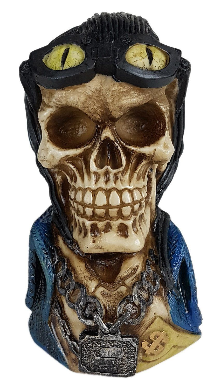 Crânio Caveira Skull Cabelo Motoqueiro Decorativo Resina