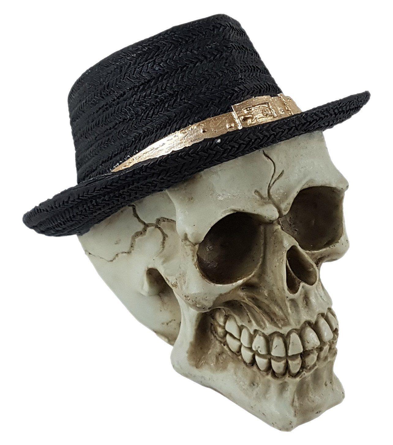 Crânio Caveira Skull Chapéu De Palha Preto Decorativo Resina