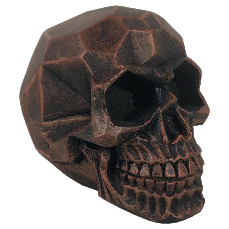 Crânio Caveira Skull Geométrico Bronze Grande Decorativo Resina