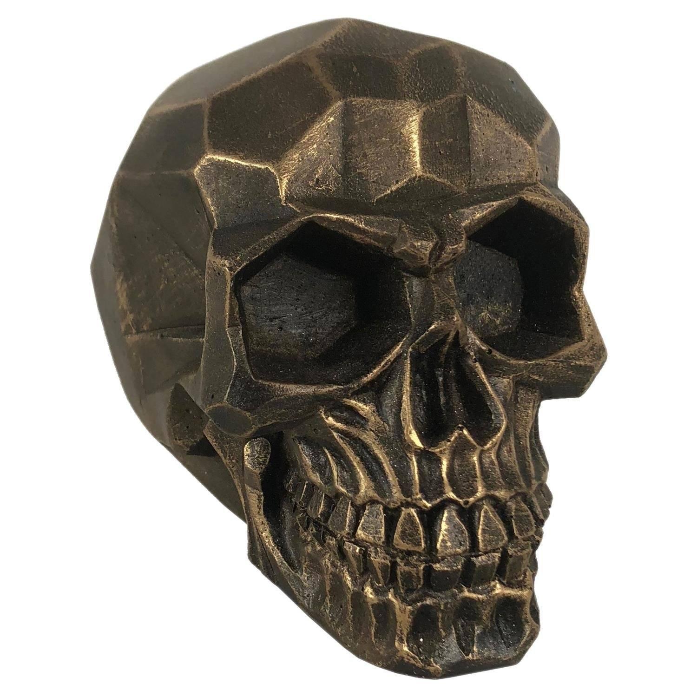 Crânio Caveira Skull Geométrico Dourado Grande Decorativo Resina