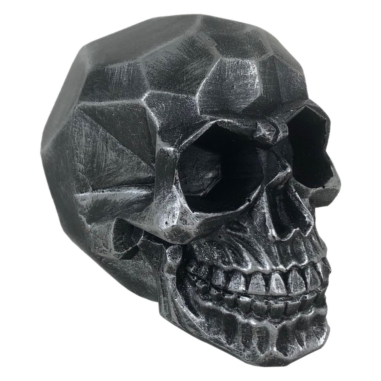 Crânio Caveira Skull Geométrico Prata Grande Decorativo Resina