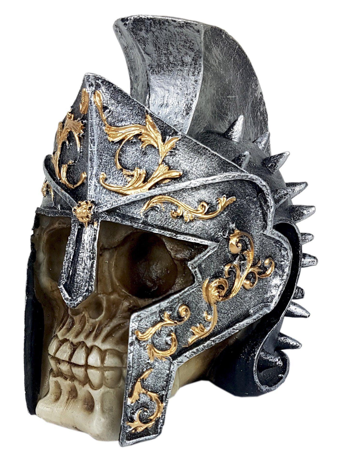 Crânio Caveira Soldado Capacete Medieval Decorativo Resina