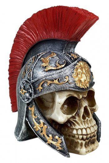 Crânio Caveira Soldado Romano Medieval Decorativo Resina
