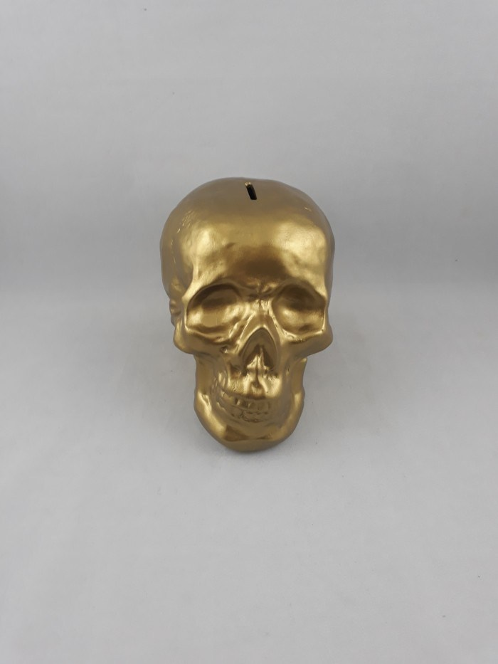 Cofre crânio em cerâmica pintura metalizada bronze