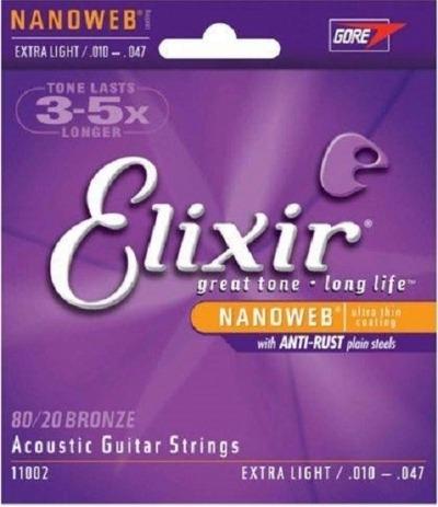 Cordas para Violão de Aço Encordoamento ELIXIR NANOWEB 0.010-0.047