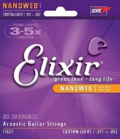 Cordas para Violão de Aço Encordoamento ELIXIR NANOWEB 0.11-0.52