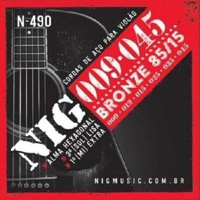 Encordoamento NIG N-490 0,09-0,45 Para Violão Aço