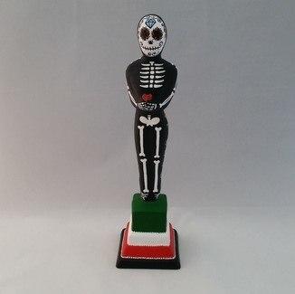 Estatueta Oscar Caveira Mexicana cpm base colorida