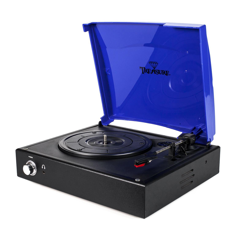 Vitrola Toca Discos Baú Treasure - Preta/Azul com software de gravação para MP3 Echo Vintage