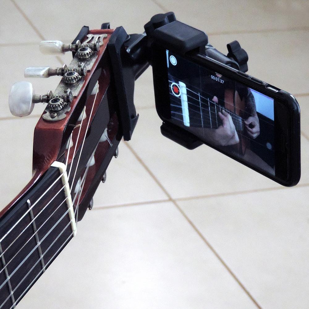 Guitar Selfie GS1 Suporte Smartphone Celular Headstock Violão Guitarra Baixo Etc.
