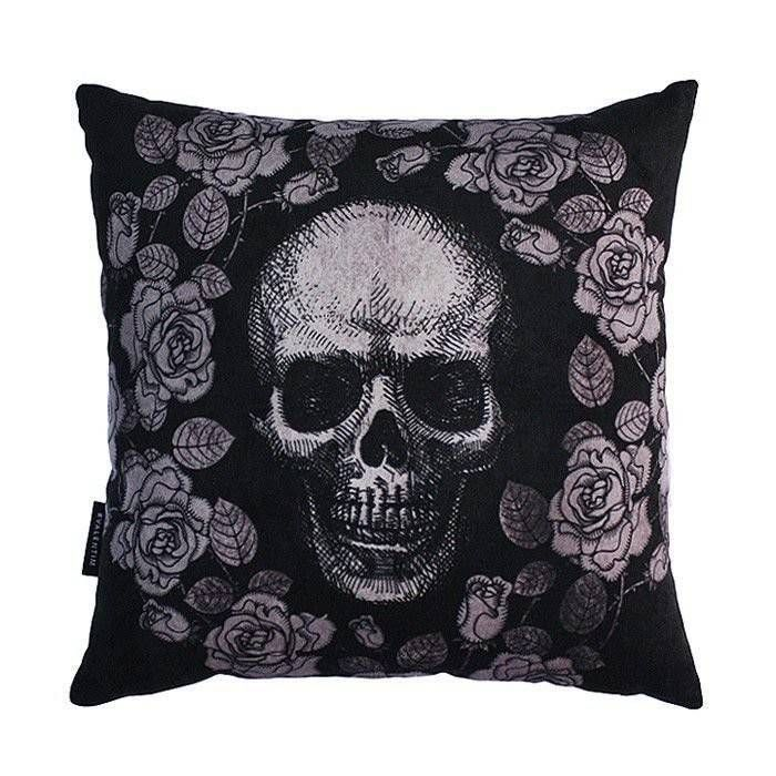 Almofada 45 Skull Roses Black – Rvalentim