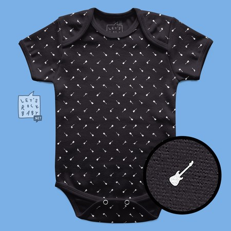 Body Infantil Let's Rock Baby Preto Estampinha Guitarras