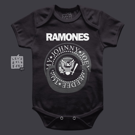 Body Infantil Let's Rock Baby Ramones Chupeta