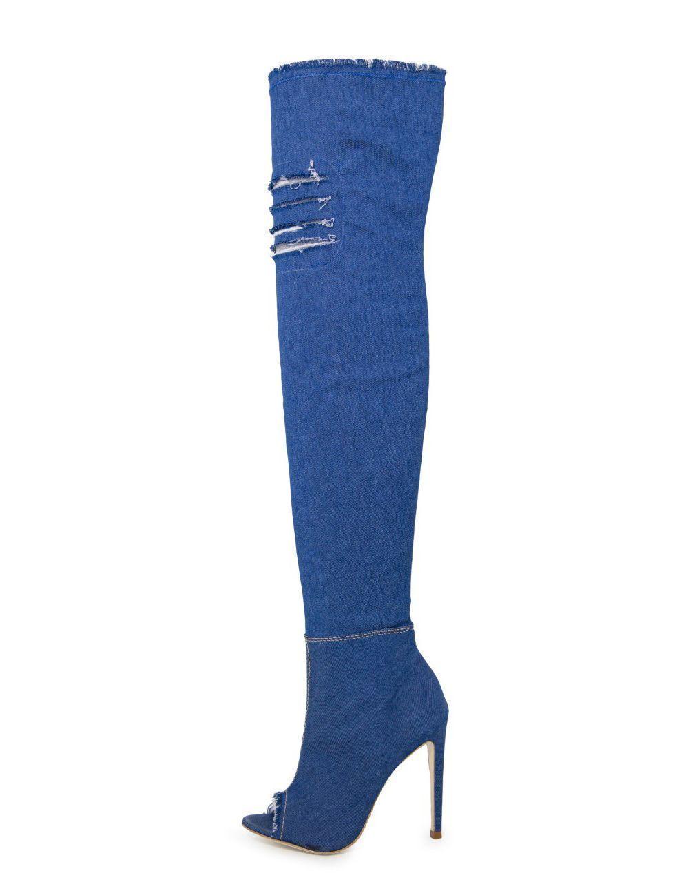 Bota Open boot Conceito Fashion Over The Knee Jeans Azul – Conceito Fashion