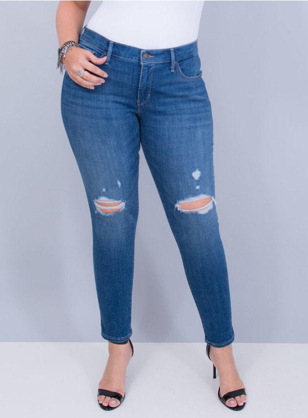 Calça Levi's Jeans Feminina 310 Shaping Super Skinny Destroyed