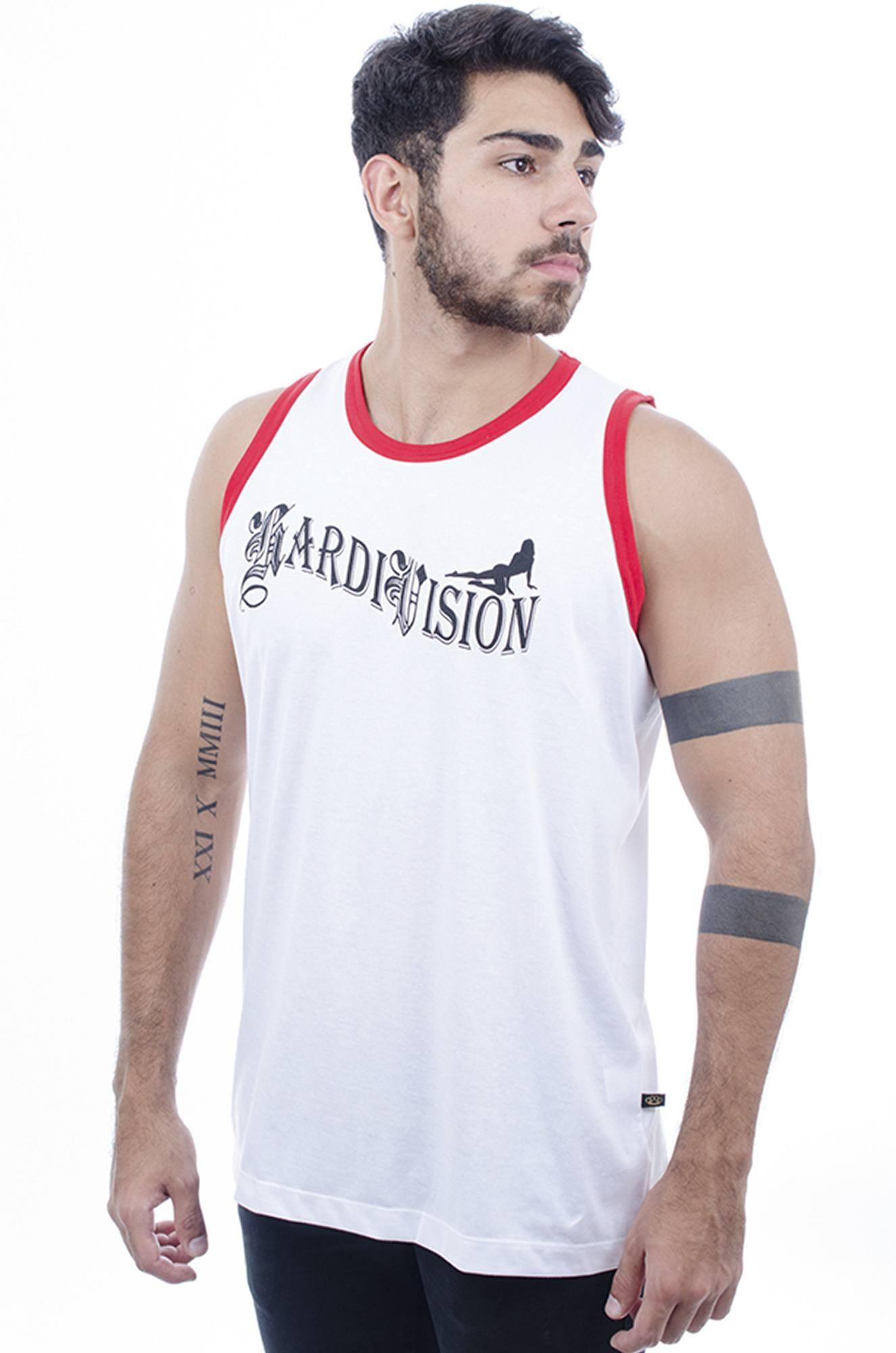Camiseta Regata Masculina Hardivision Vegas Branco
