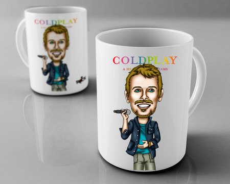 Caneca Exclusiva Mitos do Rock Chris Martin Coldplay