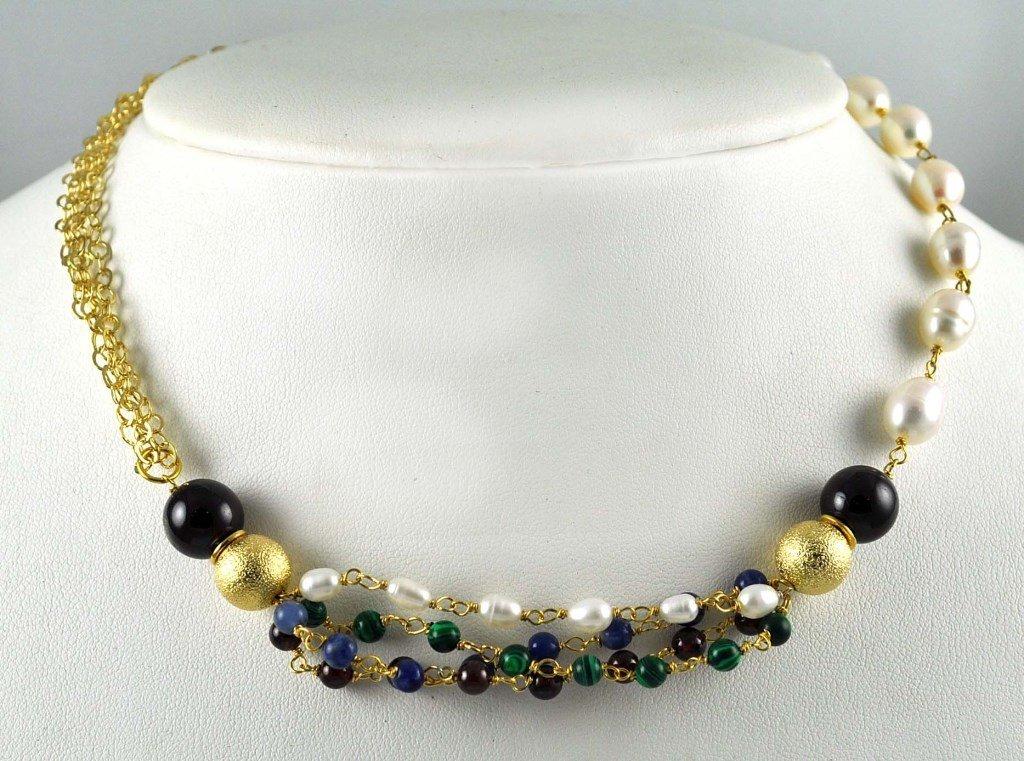Colar Tita Karan Banhado a Ouro 18K com Pedras Semipreciosas Misturadas e Pérolas de Água Doce