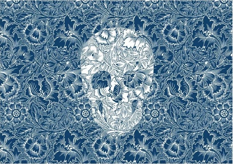 Jogo Americano Skull Flowers Blue (2 peças) – Rvalentim