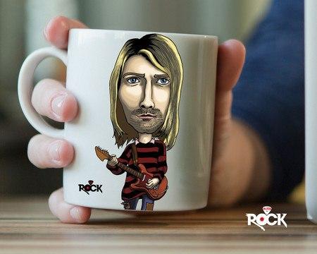 Caneca Exclusiva Mitos do Rock Kurt Cobain Nirvana