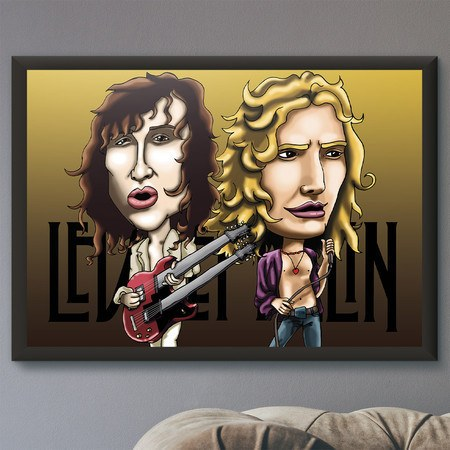 Pôster com Moldura Mitos do Rock Led Zeppelin