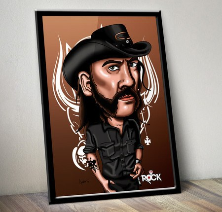 Pôster com Moldura Mitos do Rock Lemmy Motörhead