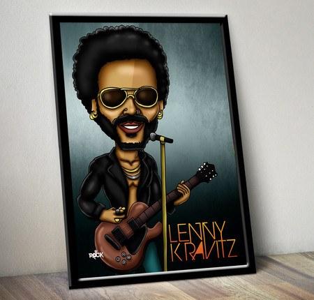 Pôster com Moldura Mitos do Rock Lenny Kravitz