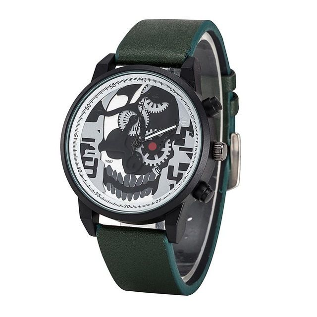Relógio Caveira Engrenagens Verde – SkullAchando