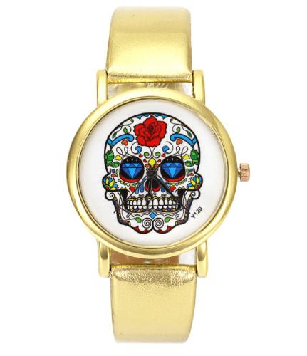 Relógio Caveira Mexicana Couro Dourado – SkullAchando