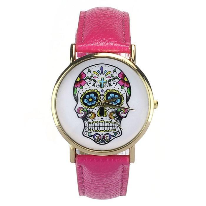 Relógio Caveira Mexicana Couro Pink – SkullAchando
