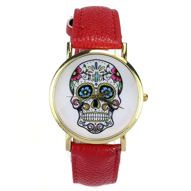 Relógio Caveira Mexicana Couro Vermelho – SkullAchando