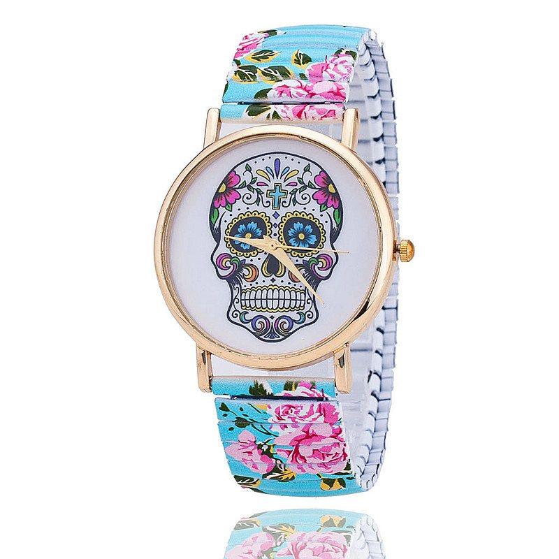 Relógio Caveira Mexicana Floral Elástico Azul – SkullAchando