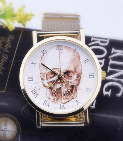 Relógio Caveira Romanos Aço Dourado – SkullAchando