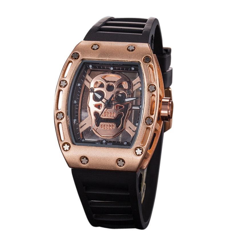 Relógio Caveira Screws Dourado – SkullAchando