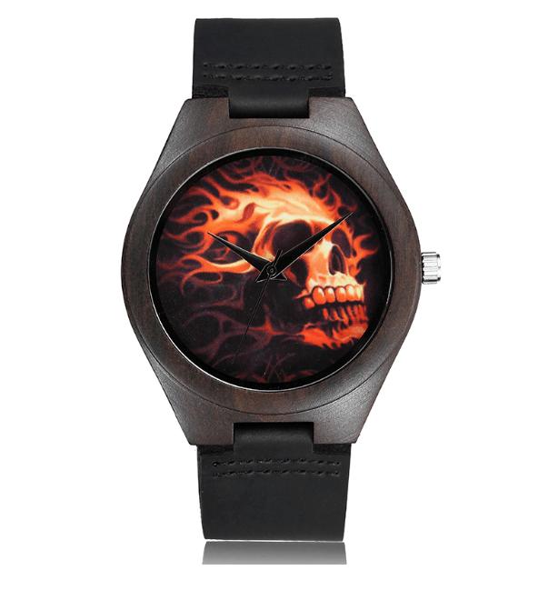 Relógio de Madeira Fire Skull – SkullAchando