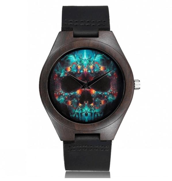 Relógio de Madeira Psychedelic Skull II – SkullAchando