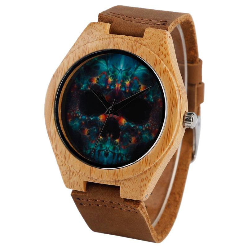 Relógio de Madeira Psychedelic Skull – SkullAchando