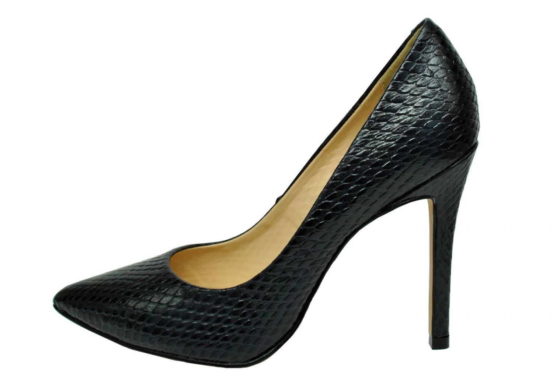 Scarpin Conceito Fashion Couro Serpente Preto  – Conceito Fashion