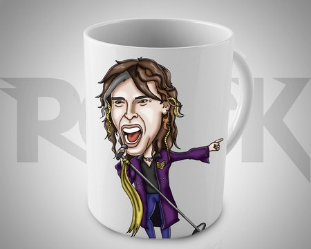 Caneca Exclusiva Mitos do Rock Steven Tyler Aerosmith