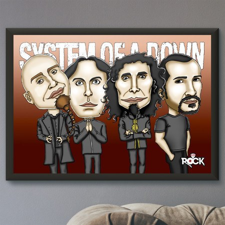 Pôster com Moldura Mitos do Rock System of a Down